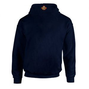 navy blue hoody back view