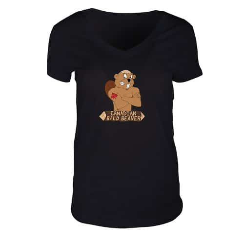 Ladies V-Neck Jersey T-Shirt Black