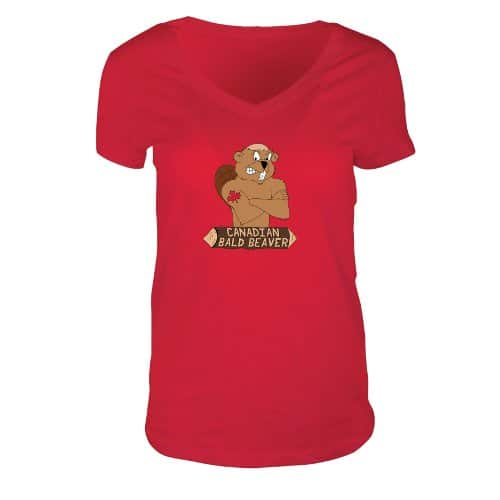 Ladies V-Neck Jersey T-Shirt Red