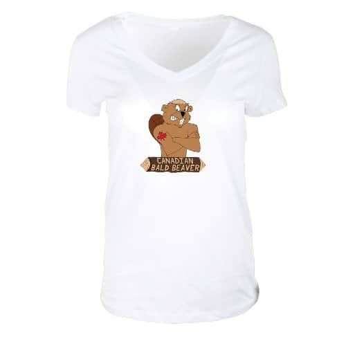 Ladies V-Neck Jersey T-Shirt White
